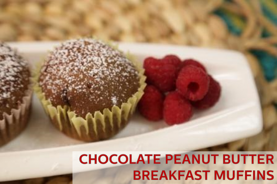 Chocolate Peanut Butter Breakfast Muffins