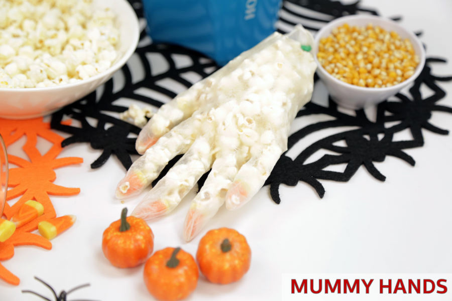 DIY  Popcorn Mummy Hands