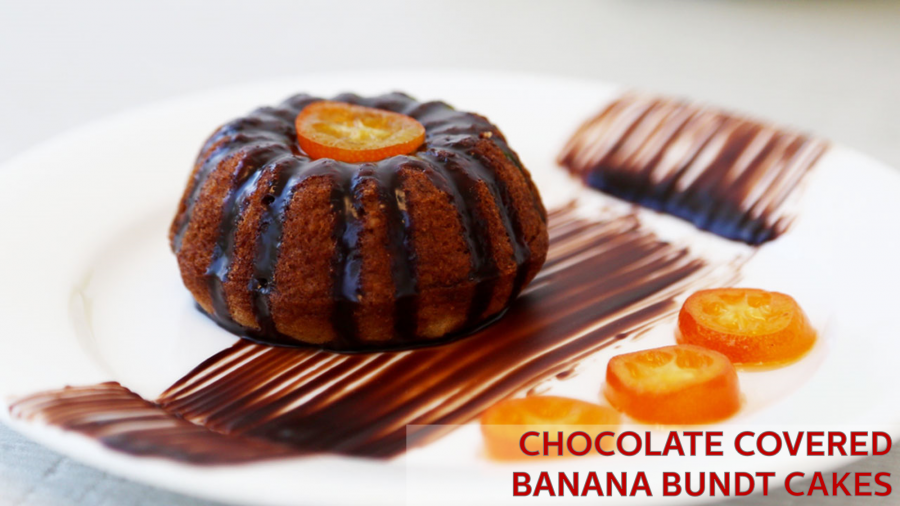 Chocolate covered Banana Bundt Cakes- Holstein Housewares + Cake Art