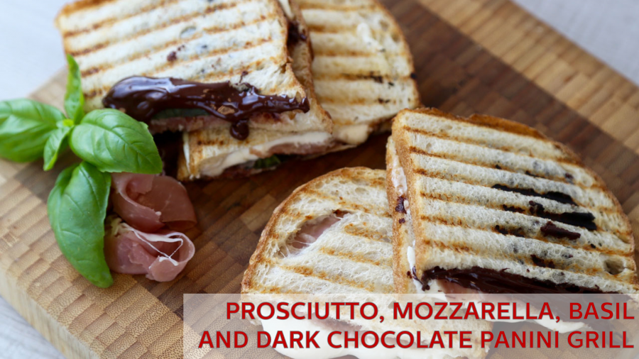 Prosciutto, Mozzarella, Basil and Dark Chocolate Panini Grill – Holstein Housewares + Cao Chocolates